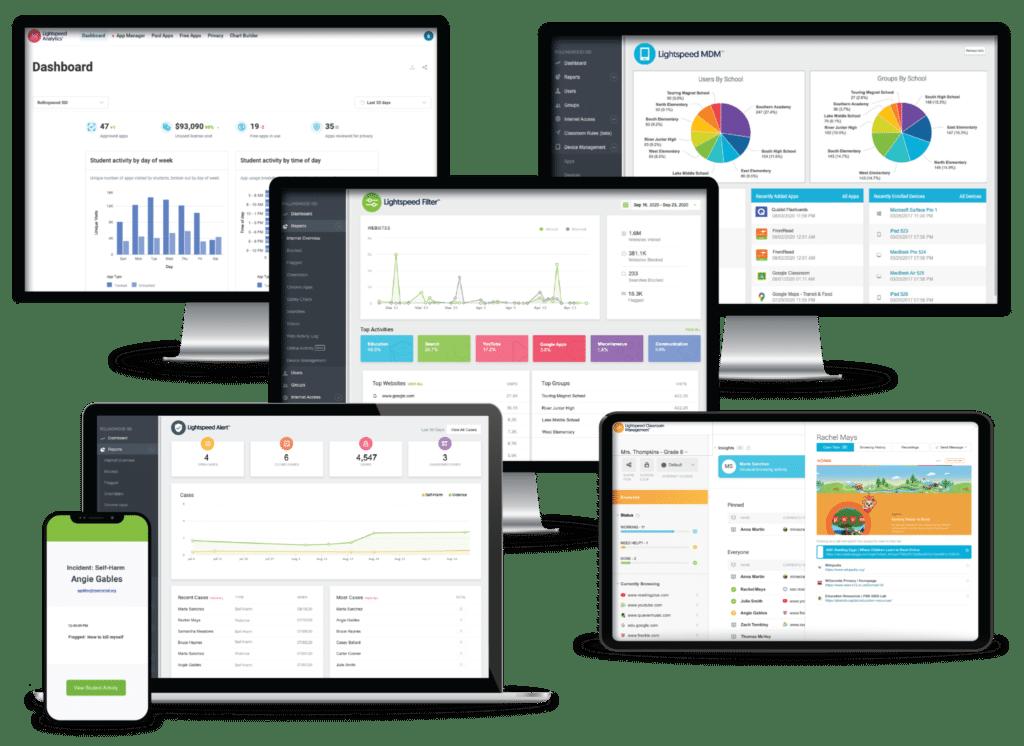 capturas de pantalla en dispositivos de escritorio y móviles para software de aprendizaje a distancia